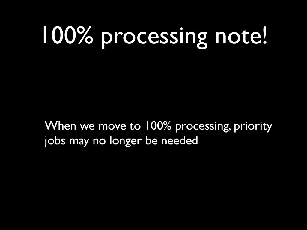 100% processing note! When we move to 100% proc...