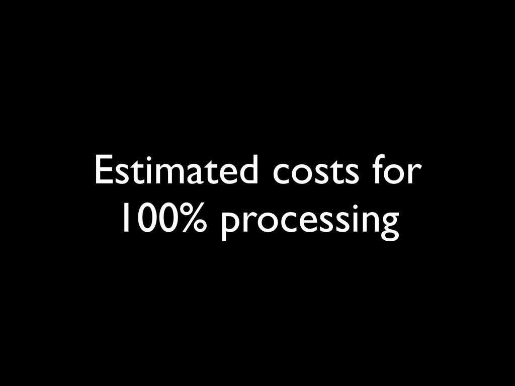 Estimated costs for 100% processing