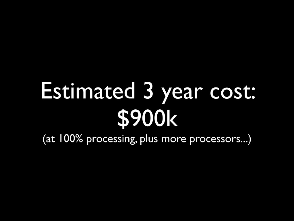 Estimated 3 year cost: $900k (at 100% processin...