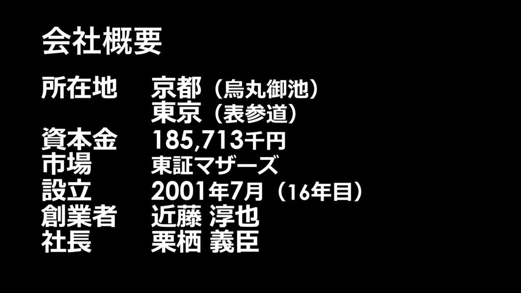 ձࣾ֓ཁ 所在地 京都(烏丸御池) 東京(表参道) 資本⾦ 185,713千円 市場 東証マザ...