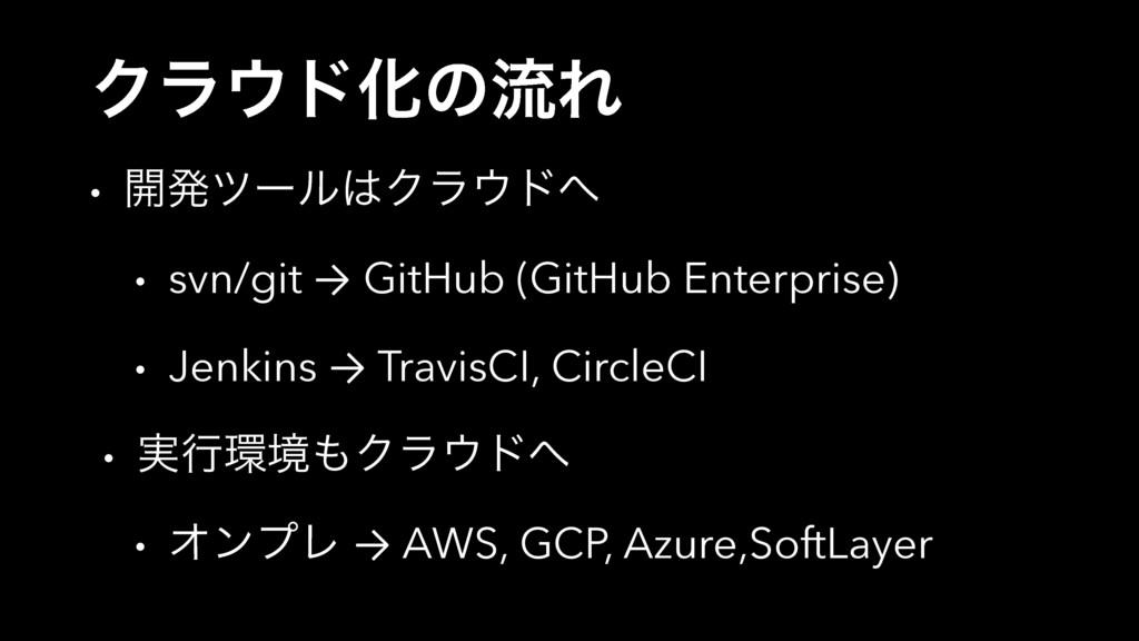 ΫϥυԽͷྲྀΕ • ։ൃπʔϧΫϥυ • svn/git → GitHub (GitH...