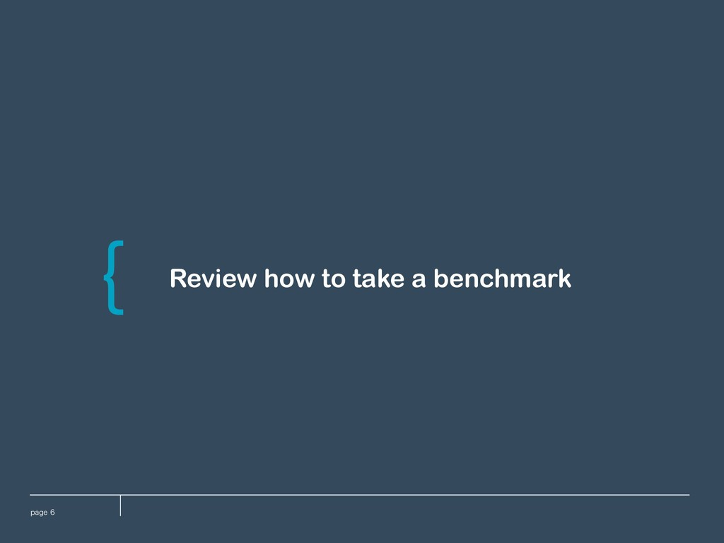 QBHF Review how to take a benchmark \