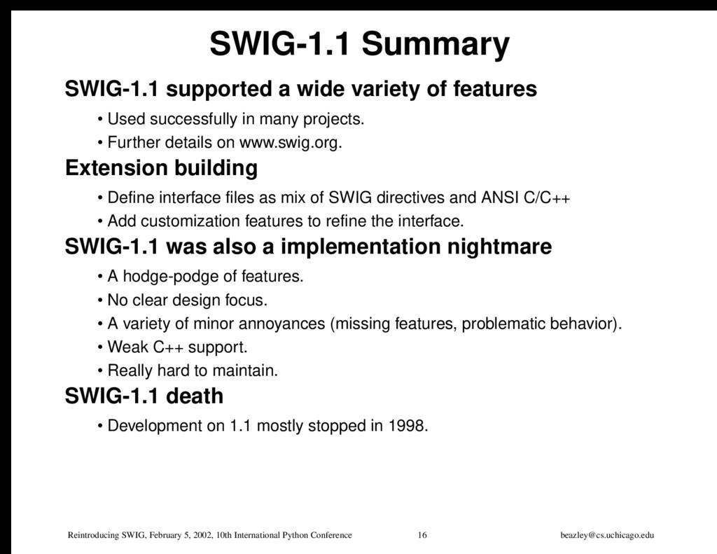 Reintroducing SWIG, February 5, 2002, 10th Inte...