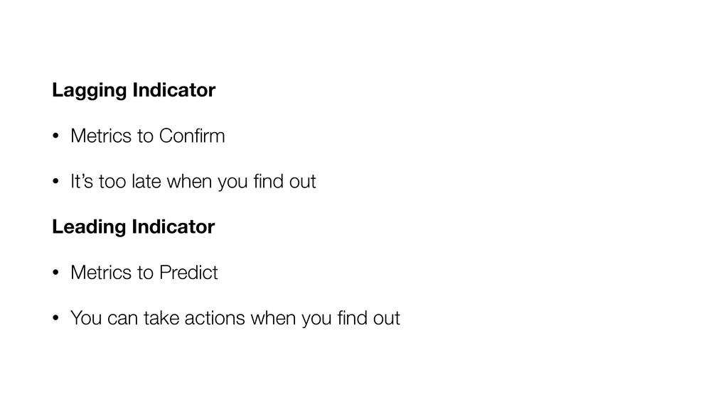 Lagging Indicator • Metrics to Confirm • It's to...