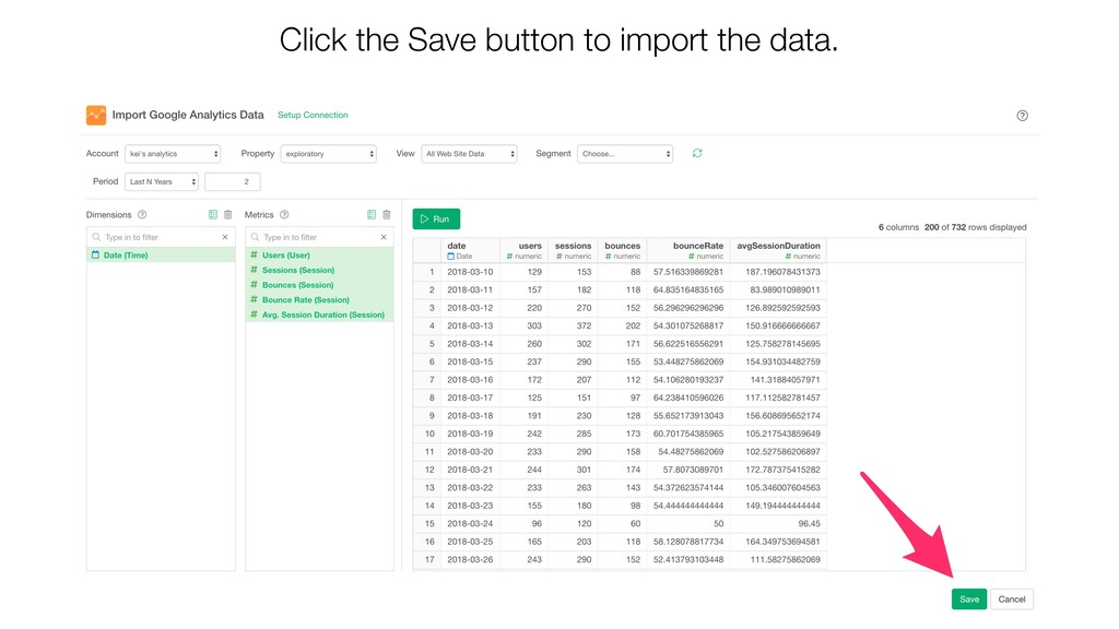 Click the Save button to import the data.