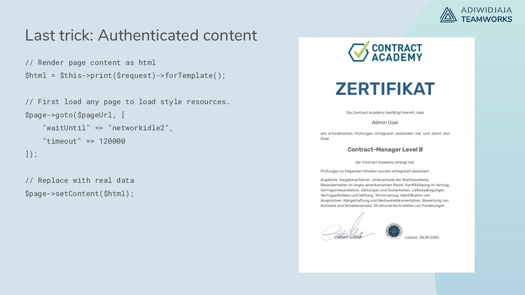 Last trick: Authenticated content // Render pag...