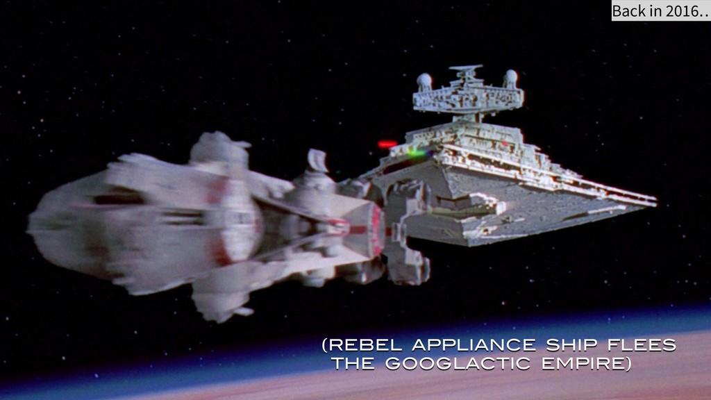 (REBEL APPLIANCE SHIP FLEES THE GOOGLACTIC EMPI...
