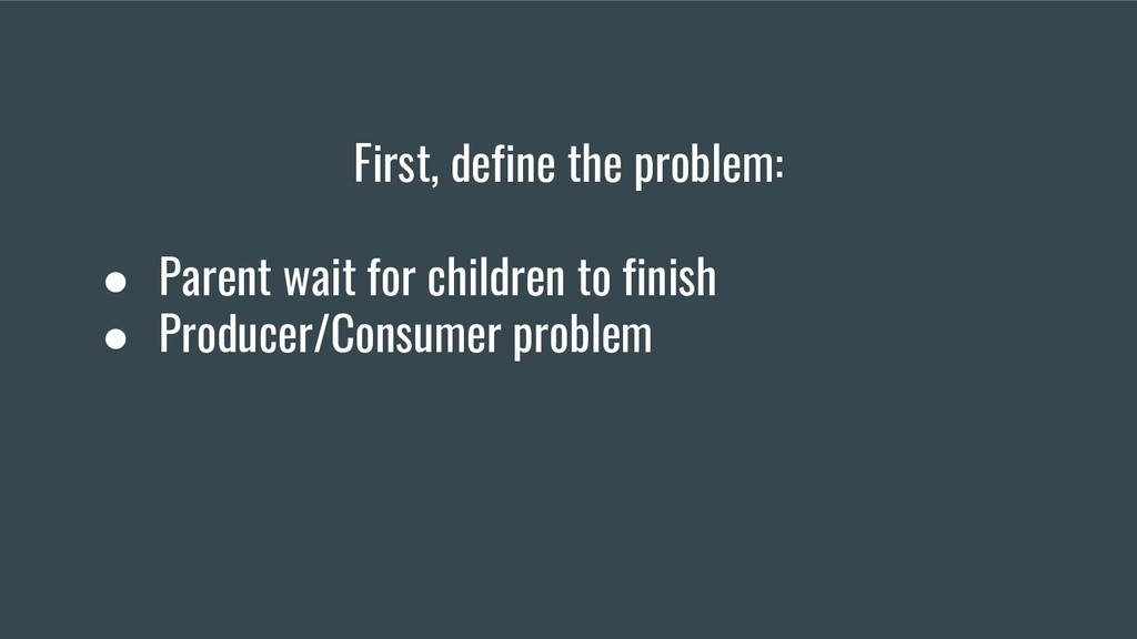 First, define the problem: ● Parent wait for ch...