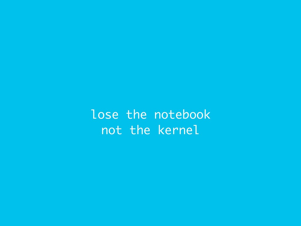lose the notebook not the kernel