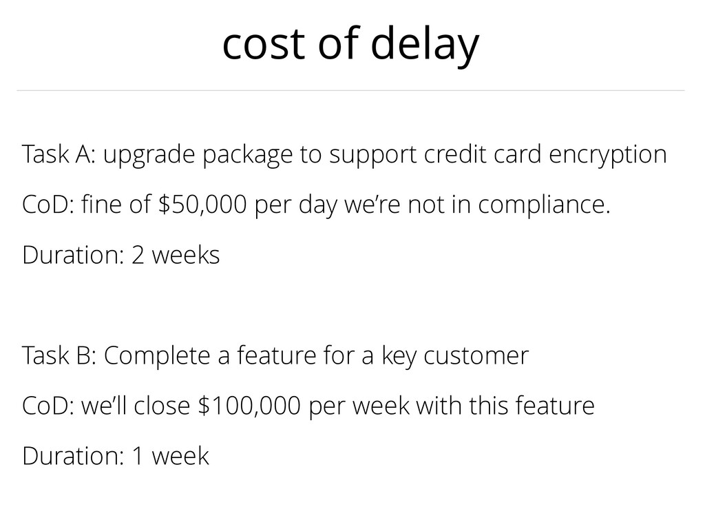 cost of delay Task A: upgrade package to suppor...