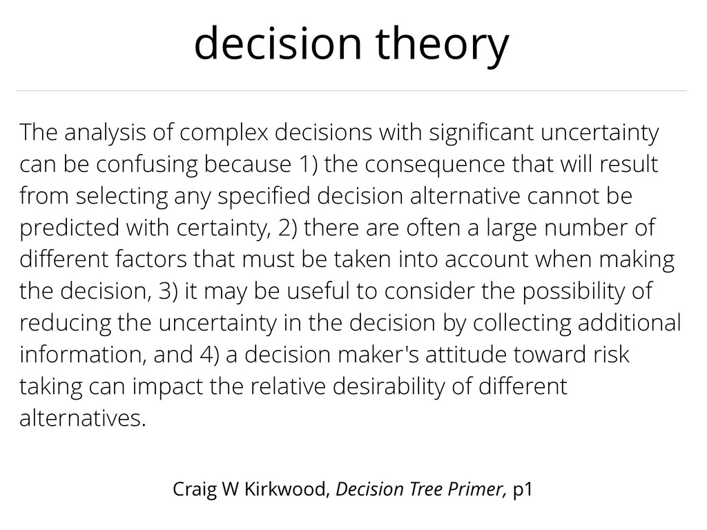 decision theory The analysis of complex decisio...