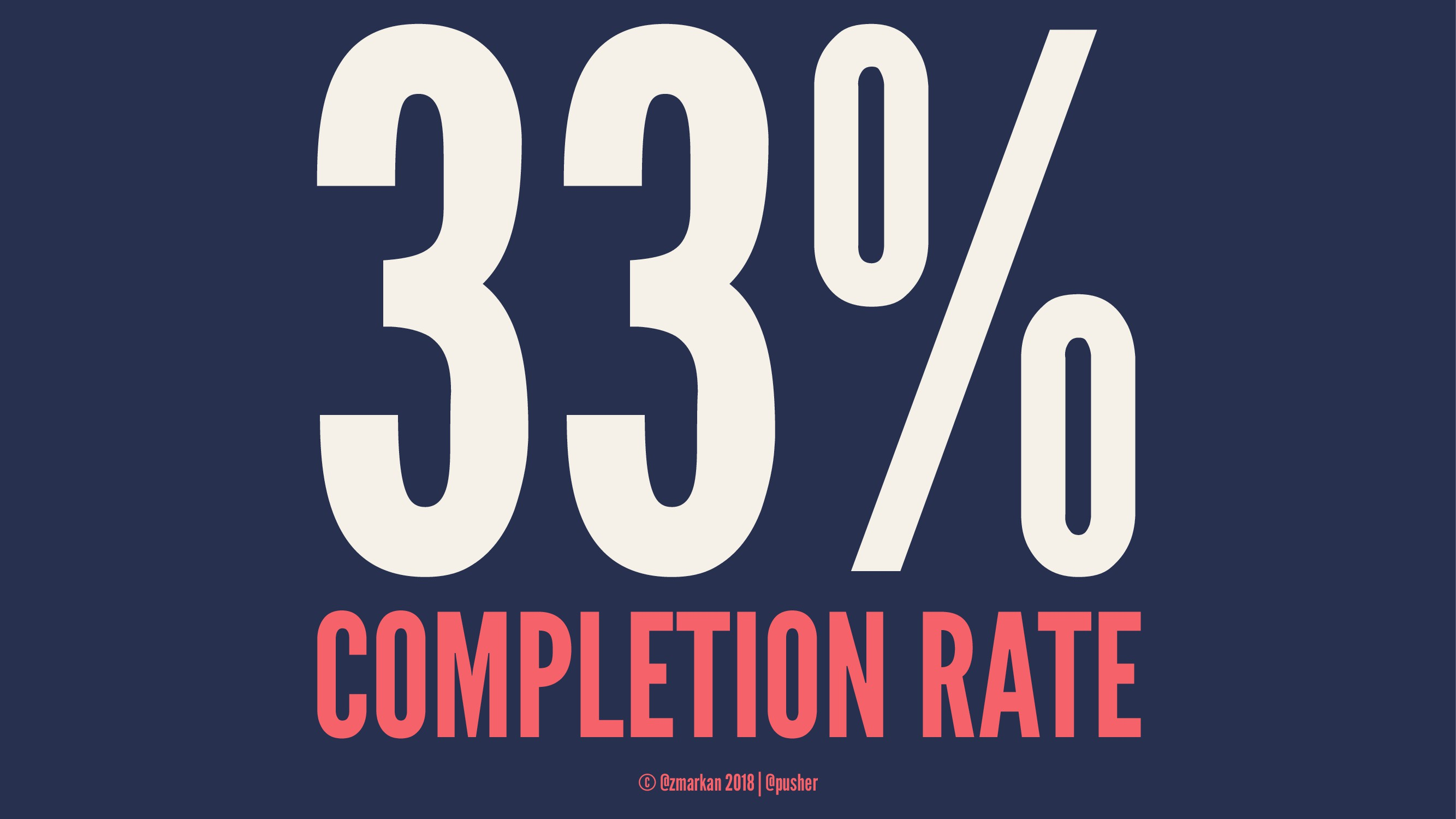 33% COMPLETION RATE © @zmarkan 2018 | @pusher