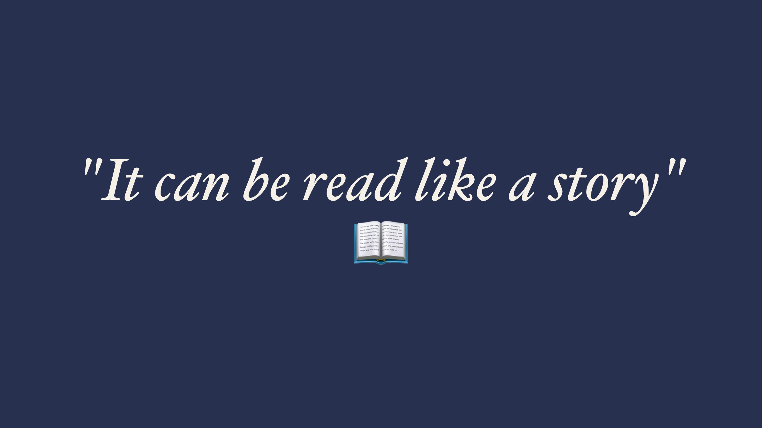"""""""It can be read like a story"""" !"""