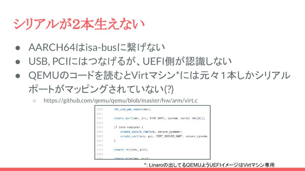 シリアルが2本生えない ● AARCH64はisa-busに繋げない ● USB, PCIには...