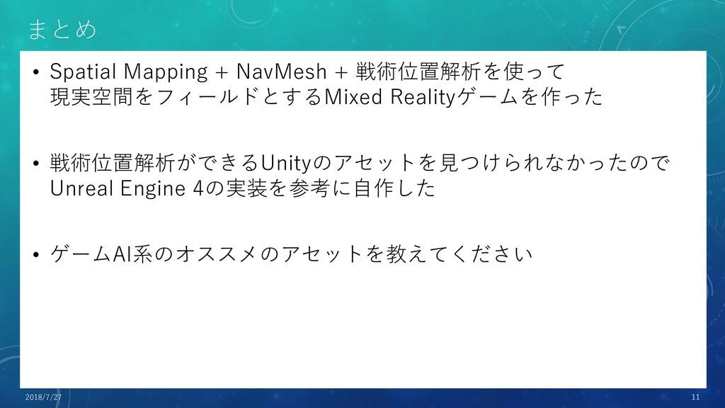 まとめ • Spatial Mapping + NavMesh + 戦術位置解析を使って 現実...