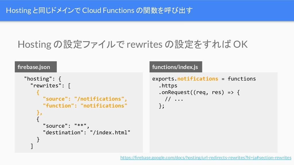 """Hosting と同じドメインで Cloud Functions の関数を呼び出す """"host..."""