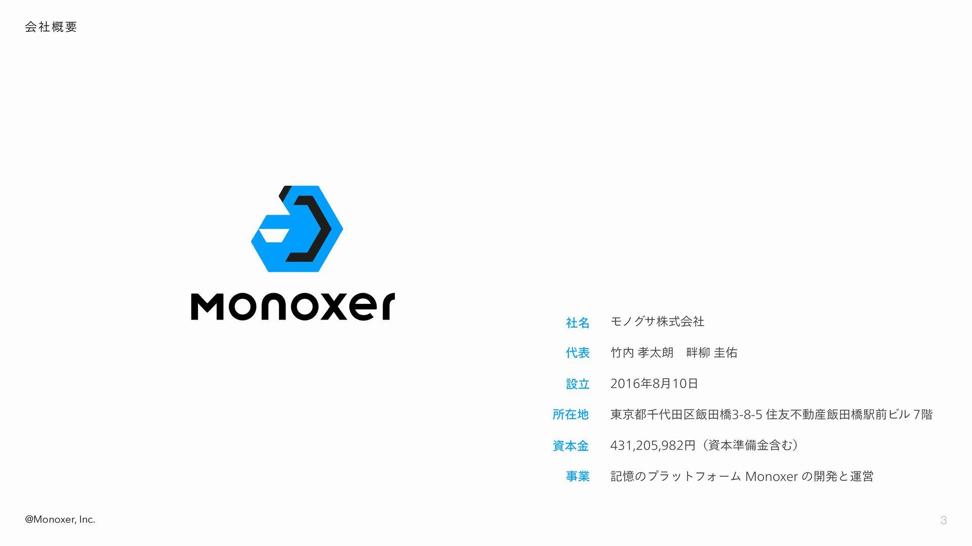 3 @Monoxer, Inc. 会社概要 モノグサ株式会社 竹内 孝太朗 畔柳 圭佑 201...
