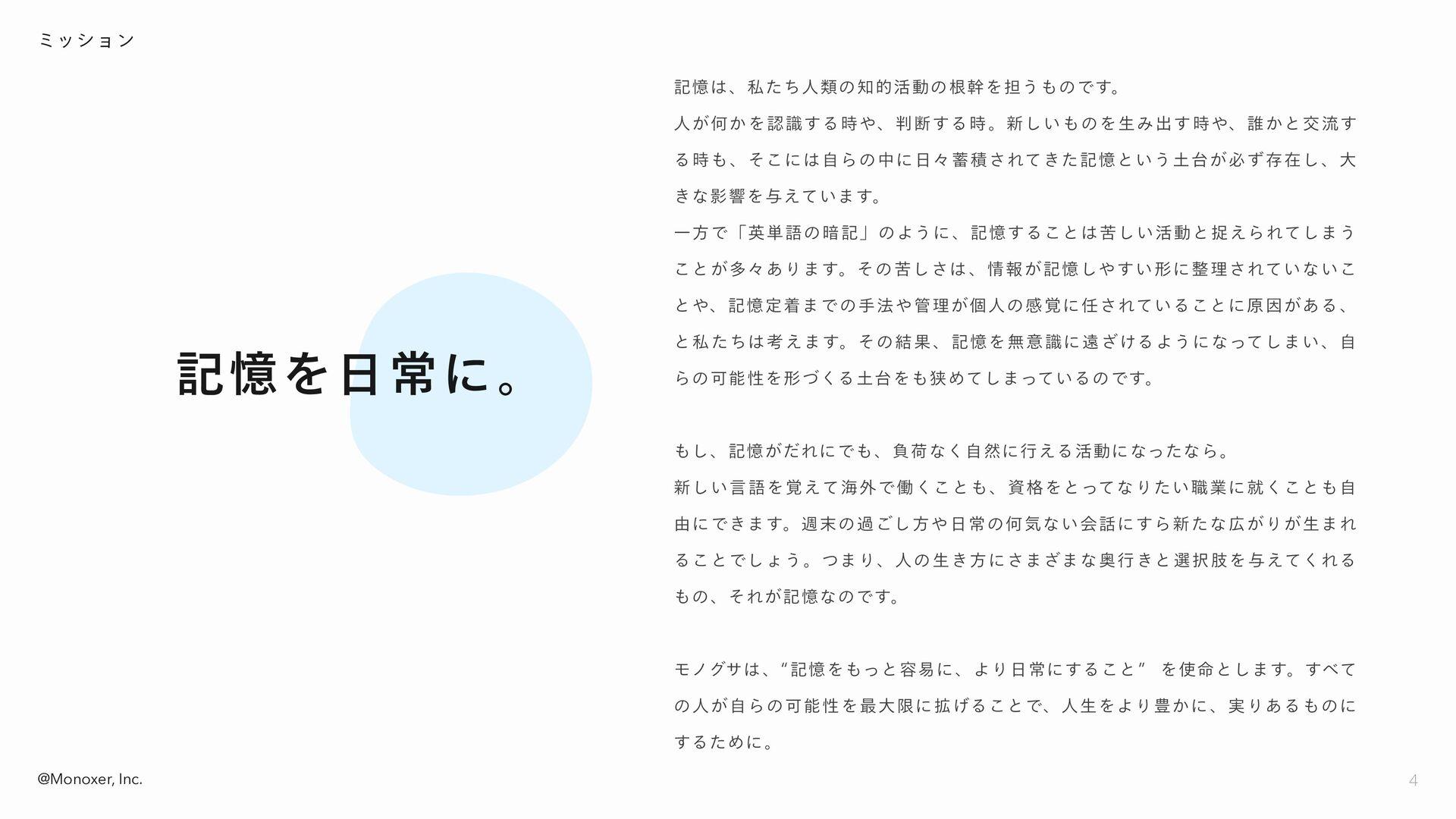 @Monoxer, Inc. 記憶は人類の知的活動の根源であり、 誰もが日々の生活の中で様々な...