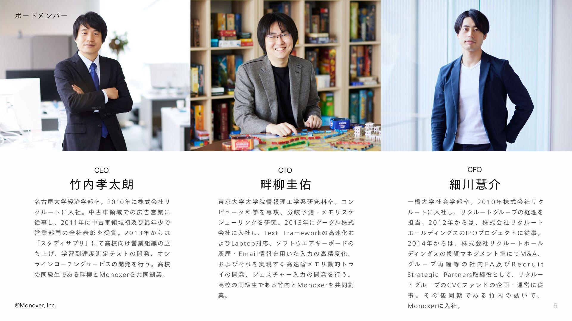 5 @Monoxer, Inc. ボードメンバー 竹内孝太朗 CEO 畔柳圭佑 CTO 細川慧...