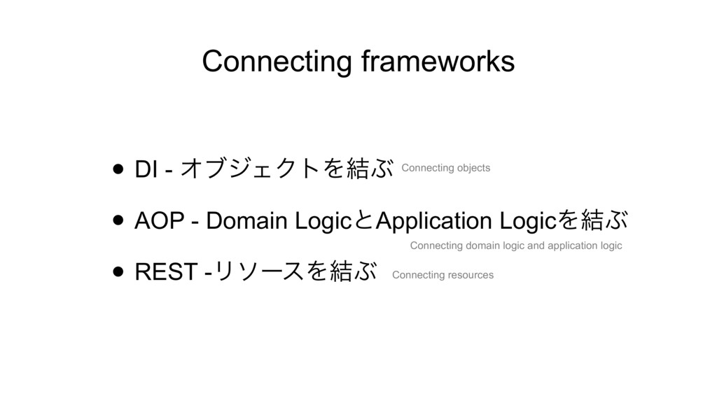Connecting frameworks • DI - ΦϒδΣΫτΛ݁Ϳ • AOP - ...