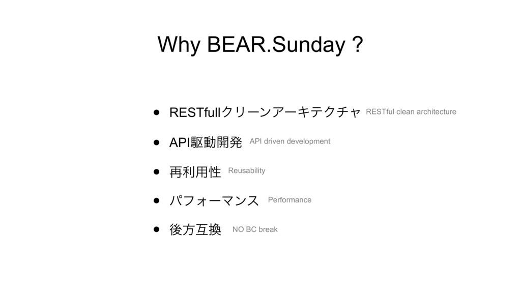 Why BEAR.Sunday ? • RESTfullΫϦʔϯΞʔΩςΫνϟ • APIۦಈ...