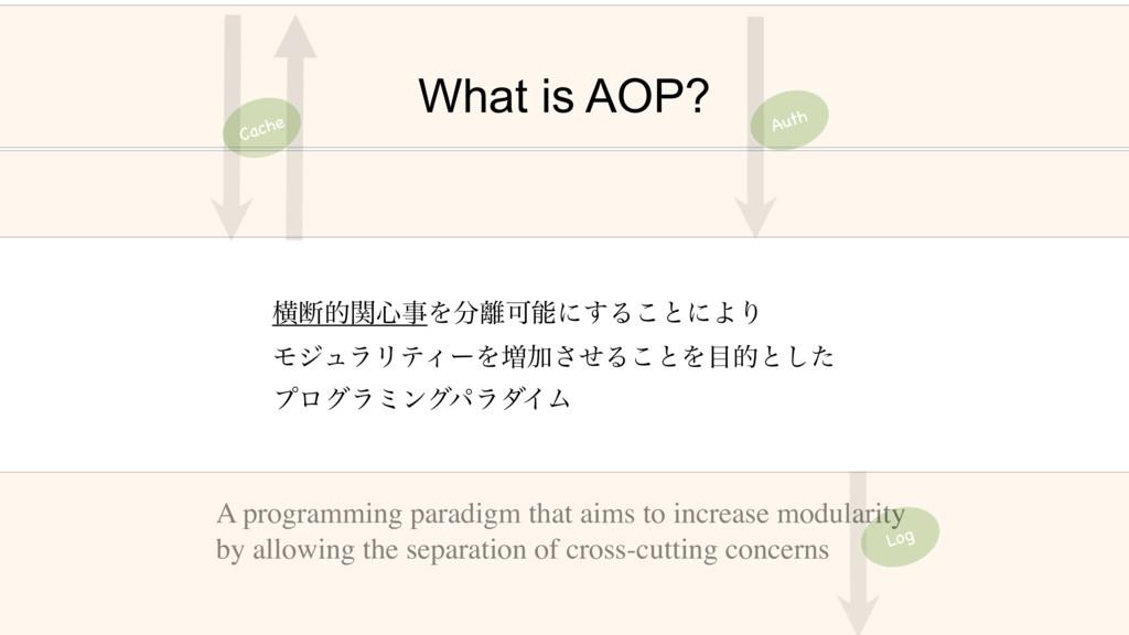What is AOP? Cache Log Auth ԣஅతؔ৺ΛՄʹ͢Δ͜ͱʹΑΓ...