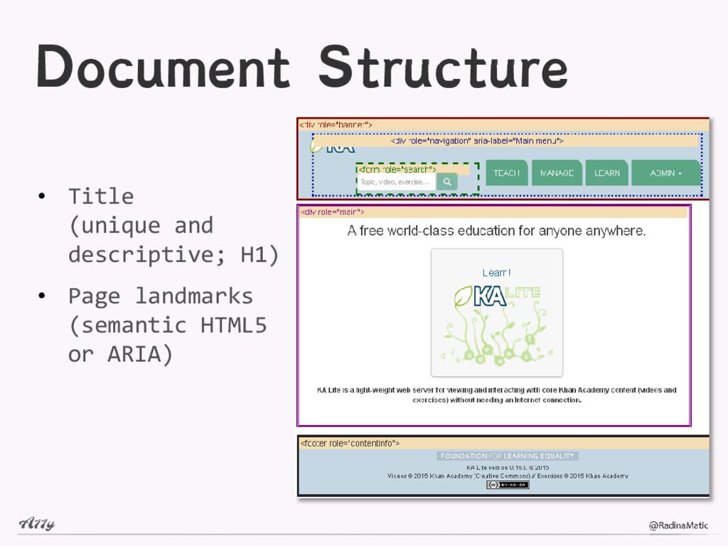 Document Structure • Title (unique and descript...