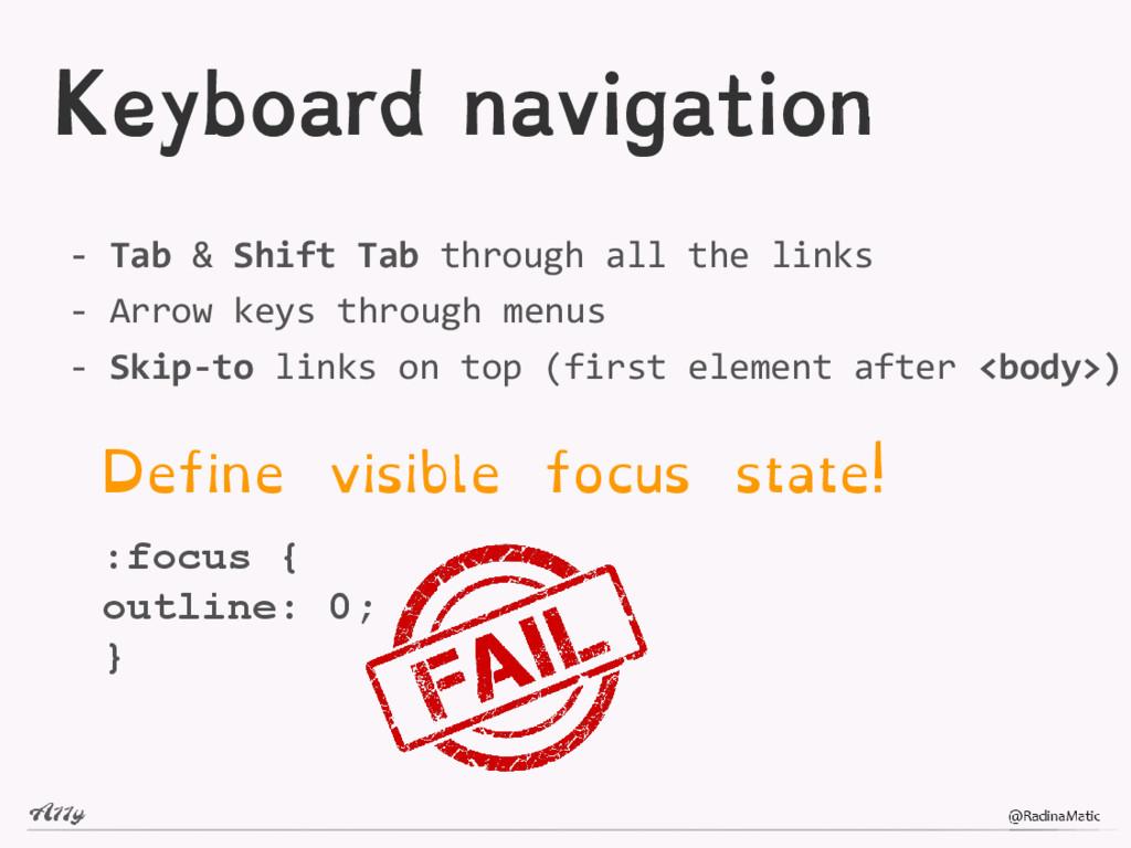 Keyboard navigation - Tab & Shift Tab through a...