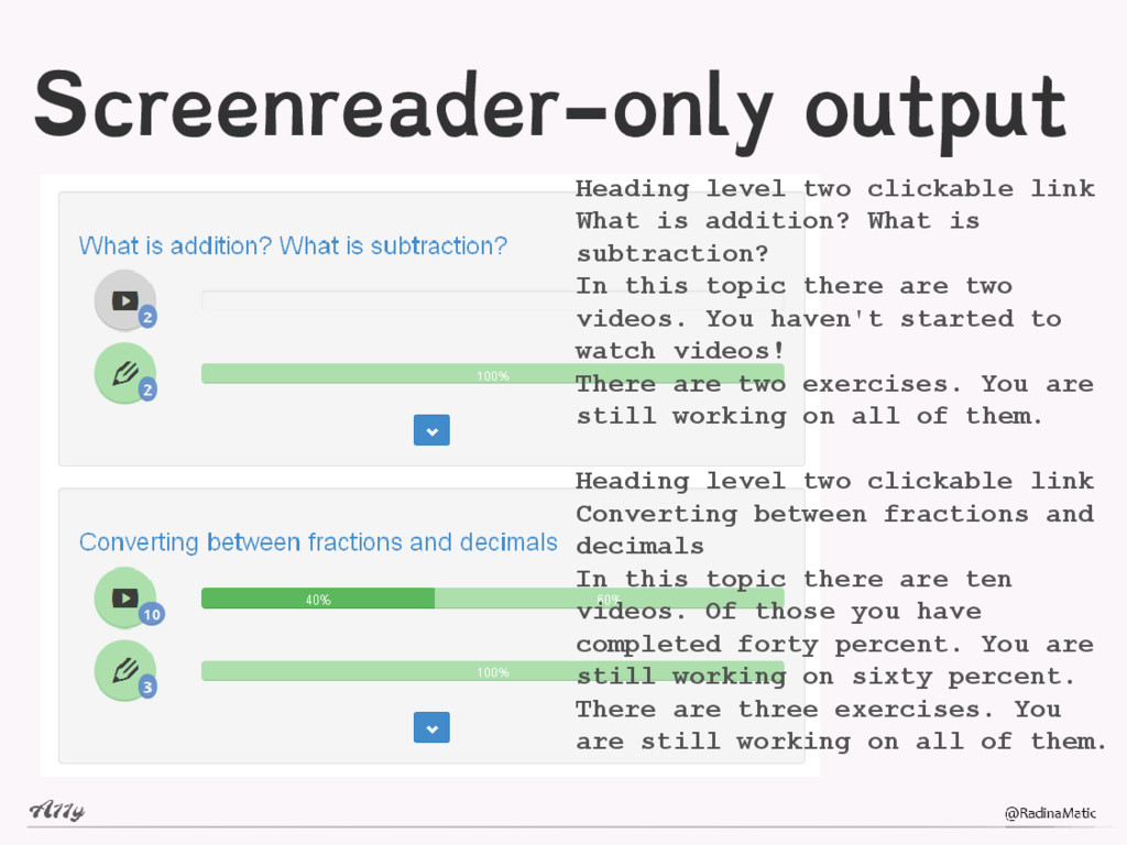 Screenreader-only output Heading level two clic...
