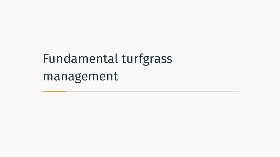 Fundamental turfgrass management