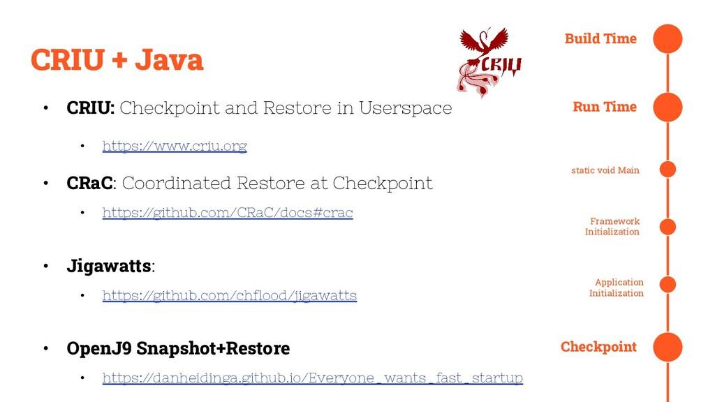 CRIU + Java Build Time Run Time static void Mai...