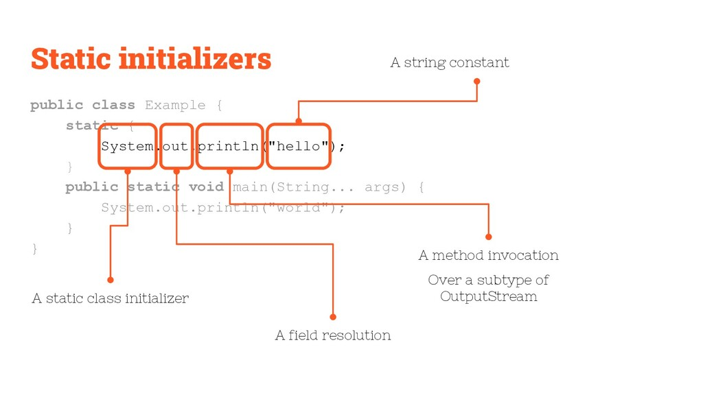 Static initializers public class Example { stat...