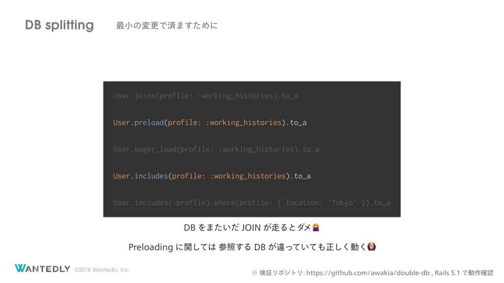 ©2018 Wantedly, Inc. DB splitting ࠷খͷมߋͰࡁ·ͨ͢Ίʹ ...