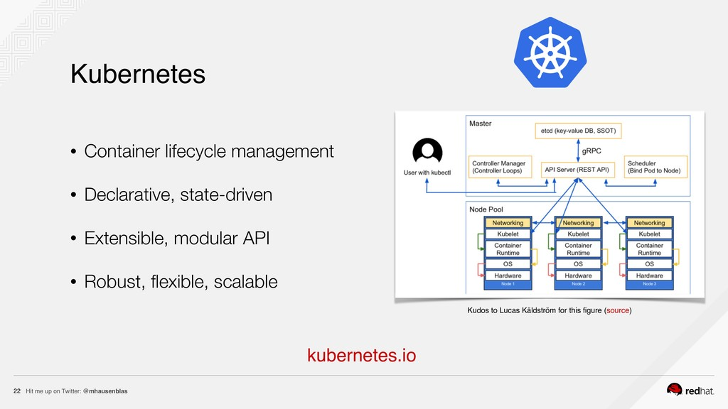Hit me up on Twitter: @mhausenblas 22 Kubernete...