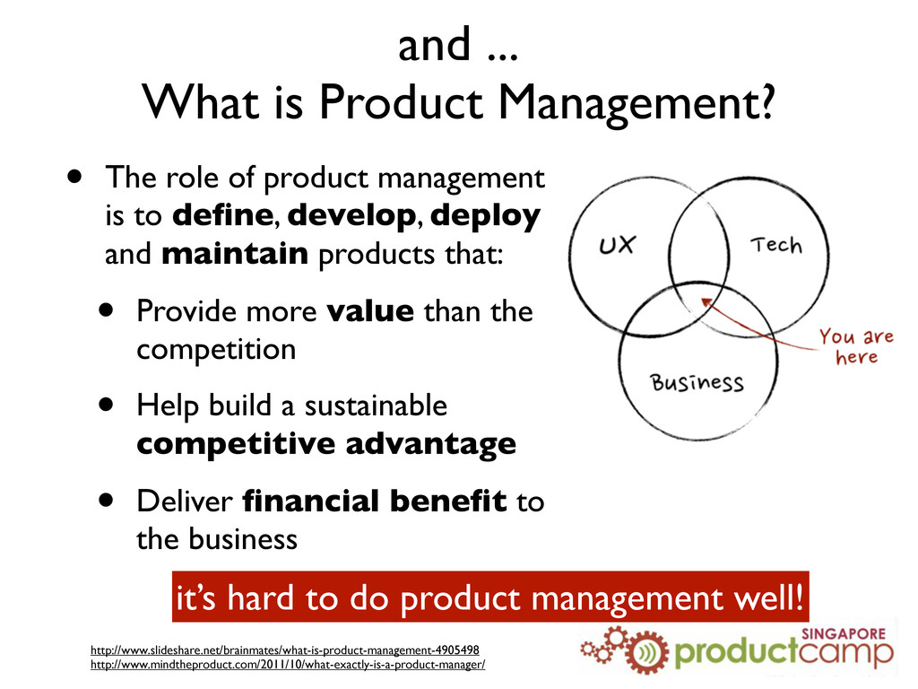 and ... What is Product Management? • The role ...