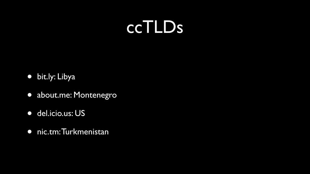 ccTLDs • bit.ly: Libya • about.me: Montenegro •...