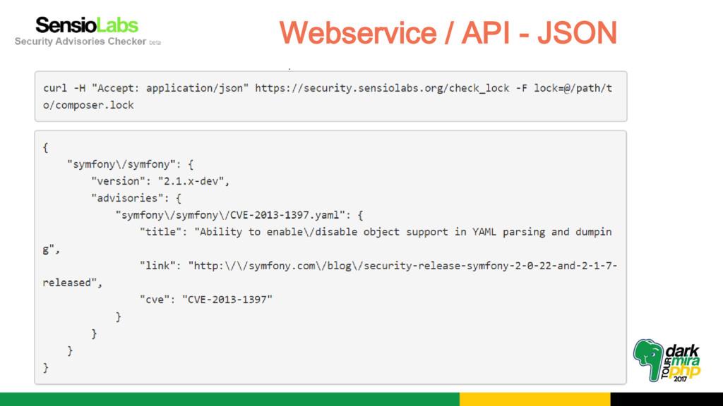 Webservice / API - JSON
