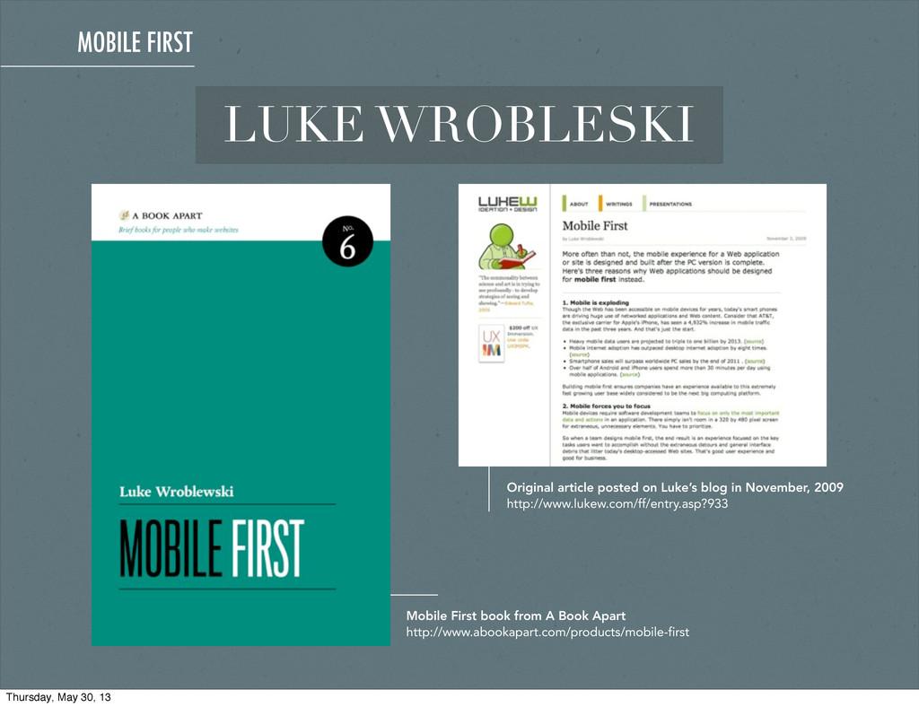 LUKE WROBLESKI Original article posted on Luke'...