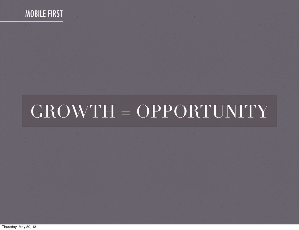 MOBILE FIRST GROWTH = OPPORTUNITY Thursday, May...