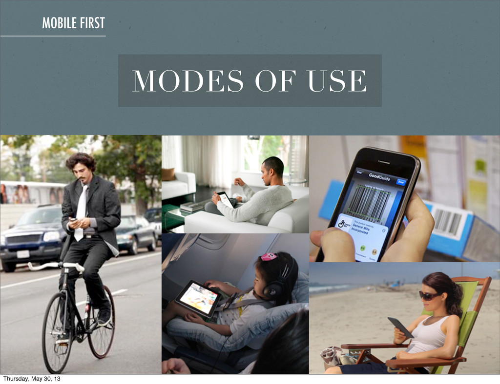 MOBILE FIRST MODES OF USE Thursday, May 30, 13