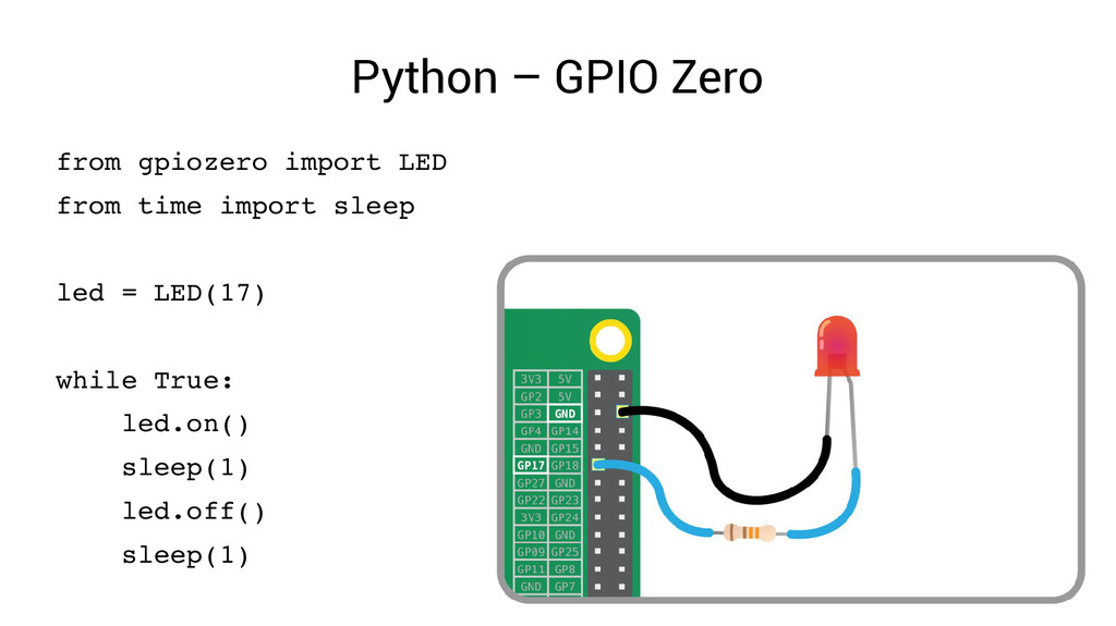 Python – GPIO Zero from gpiozero import LED fro...