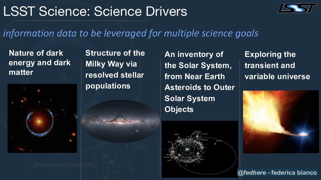 LSST Science: Science Drivers Nature of dark en...
