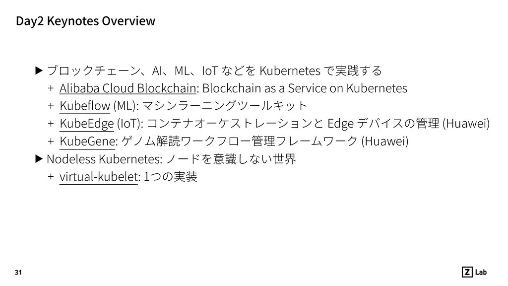 Day2 Keynotes Overview ▶ ブロックチェーン、AI、ML、IoT などを...