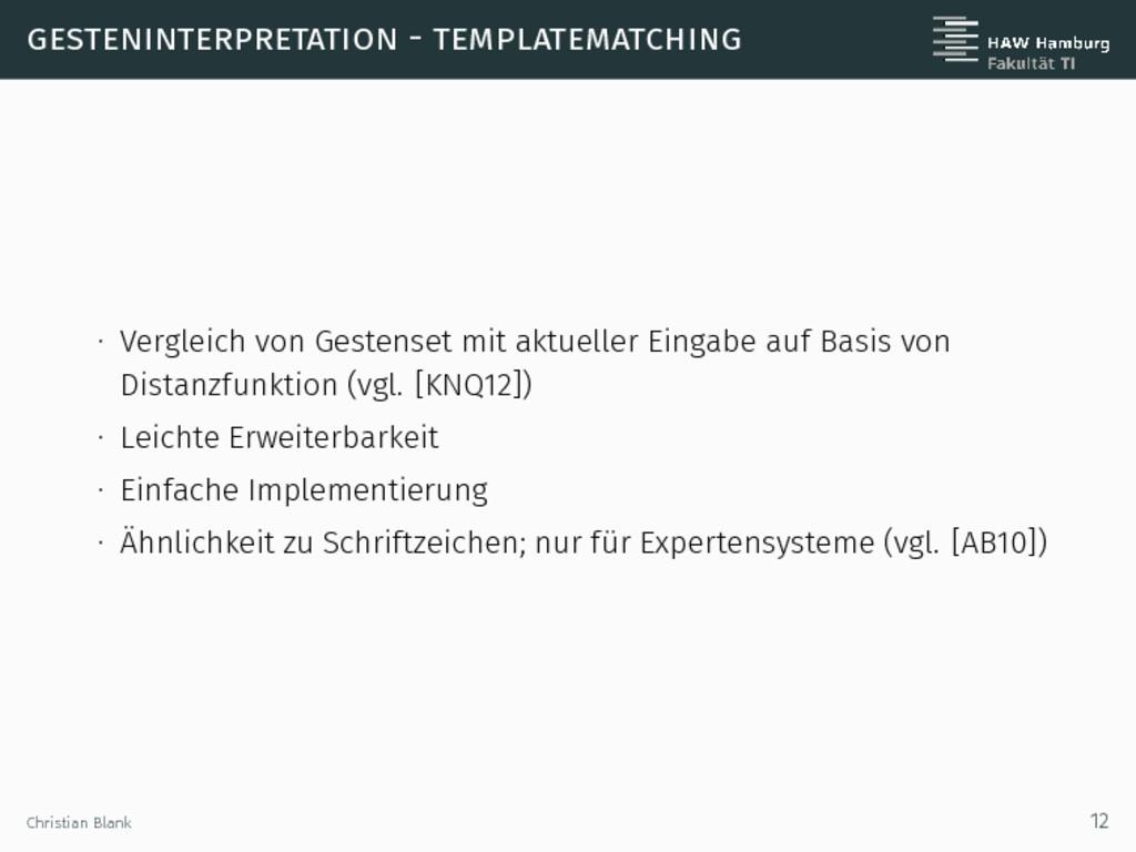 gesteninterpretation - templatematching ∙ Vergl...
