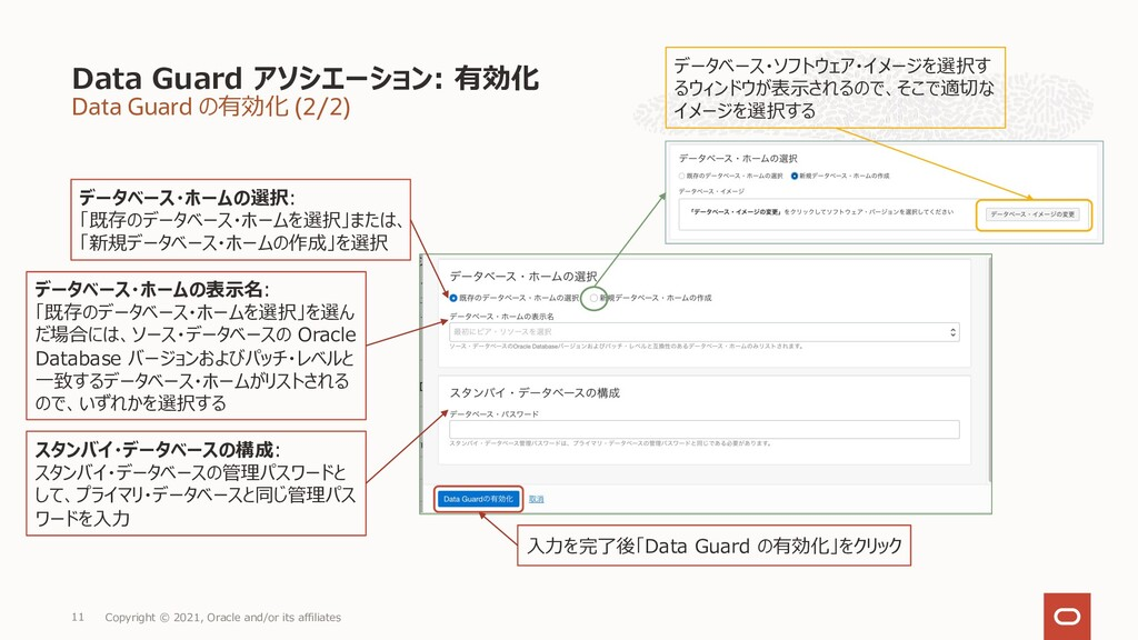Data Guard の有効化 (2/2) Data Guard アソシエーション: 有効化 ...