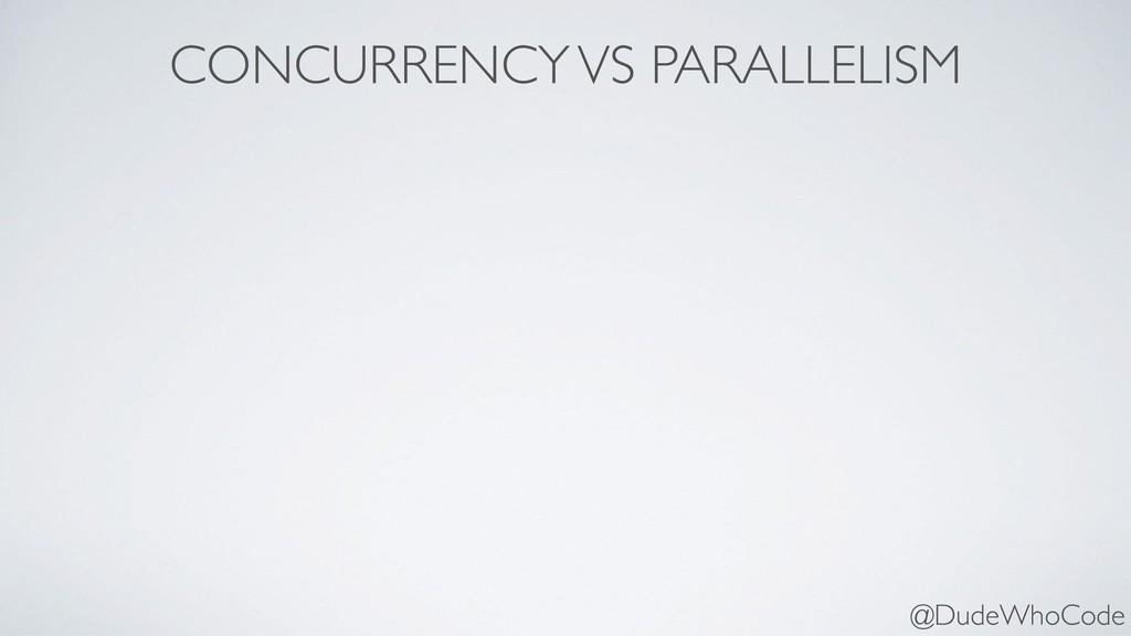 CONCURRENCY VS PARALLELISM @DudeWhoCode