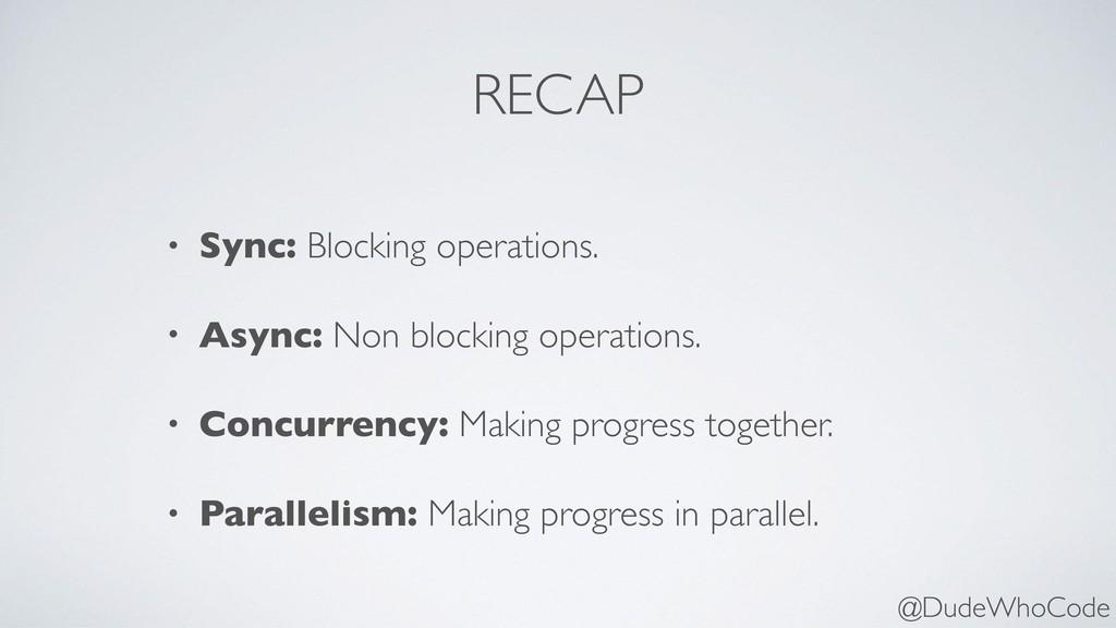 RECAP • Sync: Blocking operations. • Async: Non...