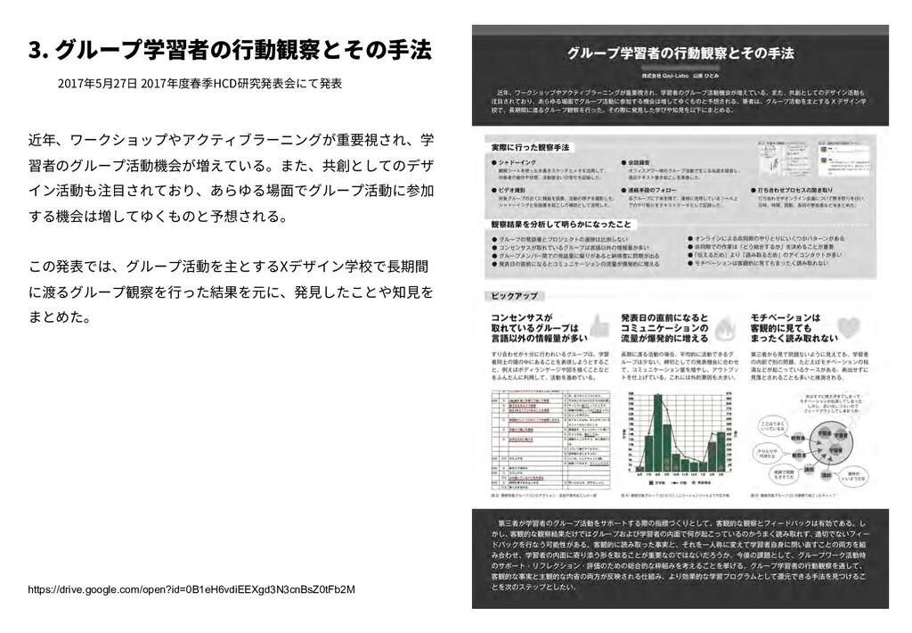 3. グループ学習者の⾏動観察とその⼿法 2017年5⽉27⽇ 2017年度春季HCD研究発表...
