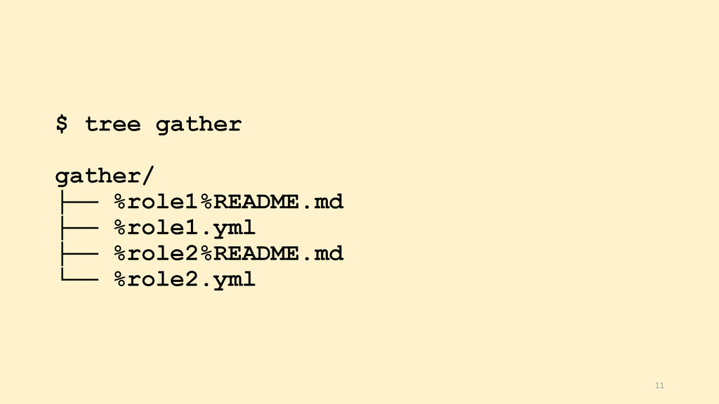 $ tree gather gather/ ├── %role1%README.md ├── ...