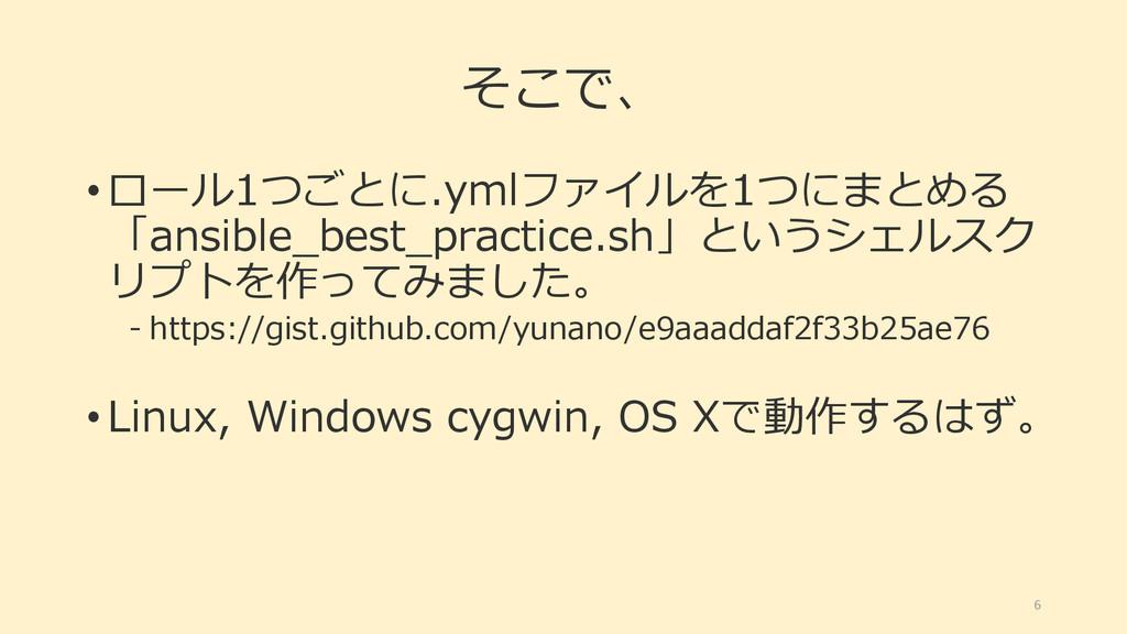 そこで、 • ロール1つごとに.ymlファイルを1つにまとめる 「ansible_best_p...